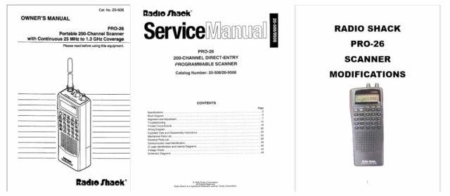 RADIO SHACK PRO-26 OPERATING MANUAL + SERVICE MANUALS