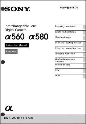 Sony DSLR Alpha A560 A580 Digital Camera User Guide