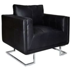 Leather Chrome Chair Decorative Dining Room Covers Contemporary Cube Club Accent Armchair Real Stock Photo