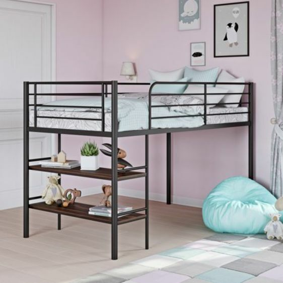 kids metal twin loft bunk bed with 2 open shelves with under bed desk storage