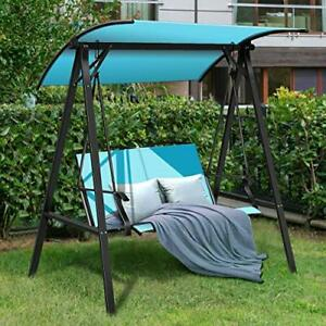 details about 2 person patio swing outdoor modern adjustable canopy swing hammock seats glider