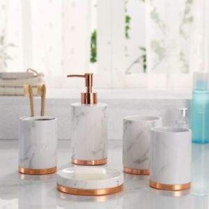 Marble Look with Rose Gold Trim 5 Piece Bathroom Accessory Set  eBay