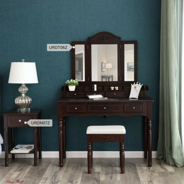 makeup vanity table set mirrored wooden brown chair trifold bedroom furniture