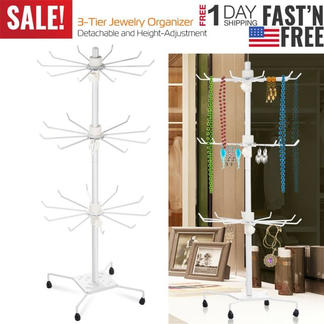 Rotating Jewelry Stand Display Organizer Necklace Ring Earring Holder Show Rack 12