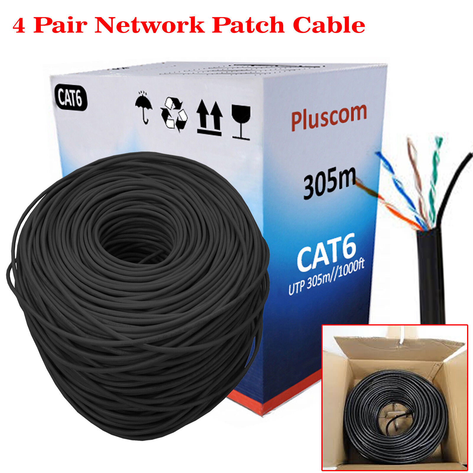 hight resolution of details about 305m roll rj45 cat6 ethernet network outdoor ftp utp 1000mps gigabit cable lot