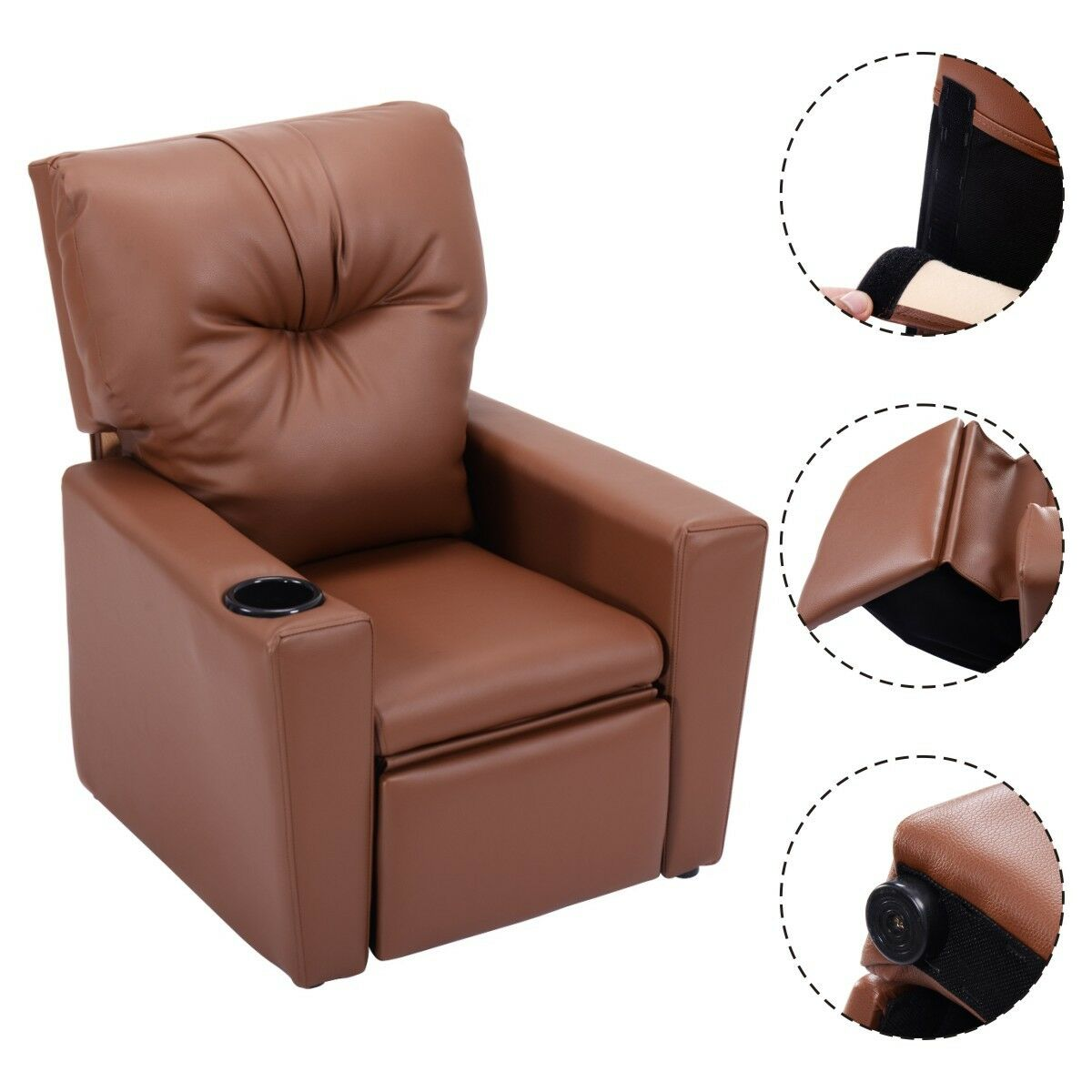 Details About Baby Kids Sofa Recliner Leather Ergonomic Lounge Chair W Cup Holder Furniture Us