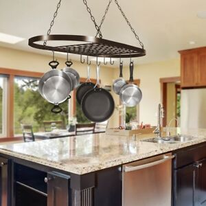 kitchen pot rack aluminum cabinets pan ceiling wall mounted oval shelf hanging 10 image is loading
