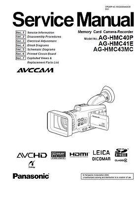 Panasonic AG-HMC40 HMC41 HMC43 Service Manual & Repair