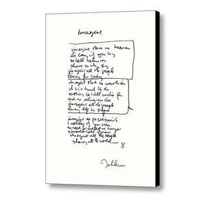 Framed John Lennon facsimile hand written Imagine Signed