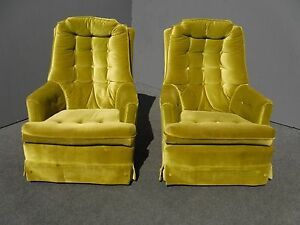 green velvet swivel chair papasan pair mid century modern lime tufted chairs image is loading