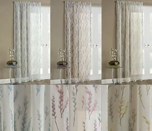 WILLOW VOILE NET CURTAIN PANEL SHEER WHITE FLORAL PRINT GREY GLITTER SPARKLE EBay