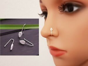 FAKE Piercing Klemme 925 Silber Nasen Stecker Nasenring Faux Piercing Kein Loch