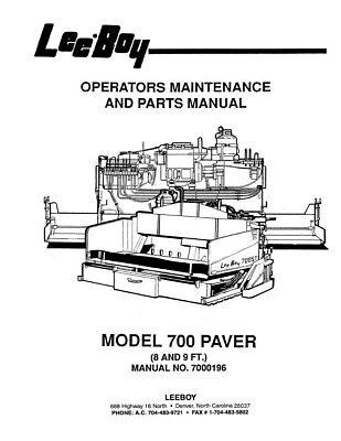 New LeeBoy 700 Paver Operation Operators Maintenance Parts