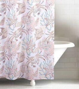 details about key biscayne shower curtain ocean fish crab coral shells aqua beach house
