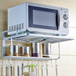 details about double bracket microwave oven wall mount shelf rack with removable hook us stock