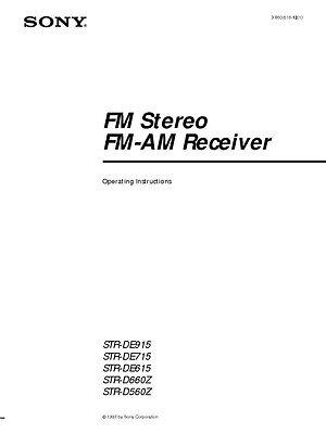 Sony STR-DE615 Amplifier / Receiver Owners Instruction