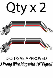 3 Prong Pigtail Wire Plug for Truck Trailer Stop Turn Tail
