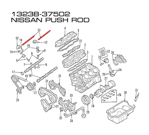 GENUINE Nissan OEM PUSH ROD FOR Patrol MQ 6.1980-1987 3.2