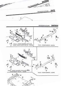 1971 DATSUN 1200 SEDAN COUPE BODY PARTS LIST CRASH SHEETS