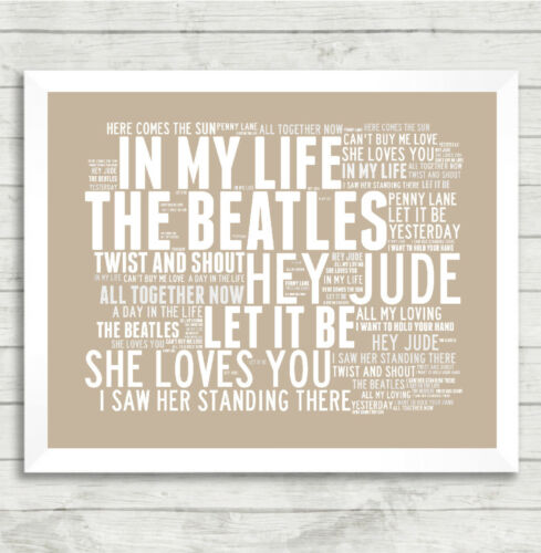 the beatles art print typography music song titles lyrics poster in my life tapestries patterer indian south asian tapestries