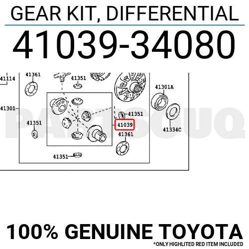 4103934080 Genuine Toyota GEAR KIT, DIFFERENTIAL 41039