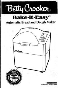 Betty Crocker Bread Machine Manual BC-1691 BC-1692 BC-1693