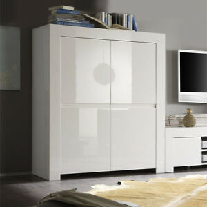 Mobile alto 4 ante sportelli moderno Amalfi bianco laccato lucido sala soggiorno  eBay