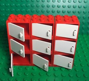 Lego X9 New Red Cupboard Container With White Doors