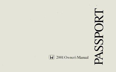 2001 Honda Passport Owners Manual User Guide Operator Book