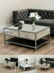 details about mirrored coffee table silver lounge glass furniture living room drawer mirror