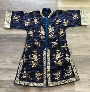 Lovely Antique Chinese Silk Robe with Flowers Qing Period