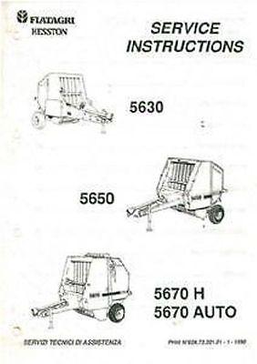 FIATAGRI HESSTON 5630 5650 5670H 5670 AUTO ROUND BALER