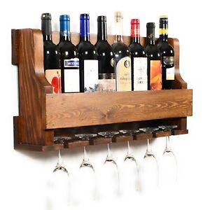 details zu wall hanging wine rack glass holder rustic modern wall mounted wine rack