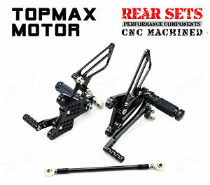 Black CNC Rear Sets Rearsets Fit Kawasaki Ninja ZX-6R