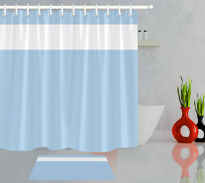 details about waterproof fabric simple light blue and white shower curtain set bathroom hooks