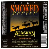 Alaskan Brewing Co 2005 SMOKED PORTER beer label AK 22oz Gold Medal Winner