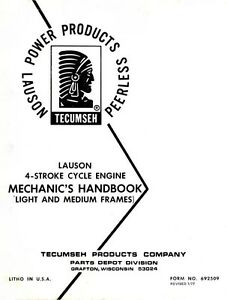 Tecumseh Lauson 4 Four Stroke Engine Mechanics Service