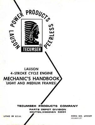 Tecumseh Lauson 4 Four Stroke Engine Mechanics Service