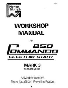 Norton Workshop Manual 1975 & 1976 850 Commando Mark 3