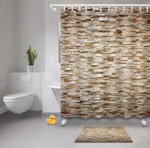 details about vintage 3d brick wall shower curtain liner bathroom waterproof fabric mat hooks