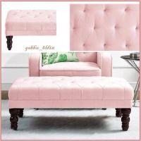 Pink Brown Vintage Tufted Ottoman Velour Bench Victorian ...