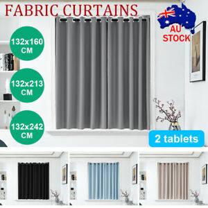 details about 2x blockout curtains thermal blackout curtains fabric pair eyelet for bedroom