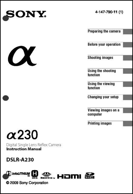 Sony DSLR Alpha A230 Digital Camera User Guide Instruction