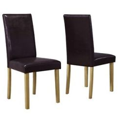 Brown Leather High Back Dining Chairs Hand Chair For Sale Pair Faux Solid Oak Legs Image Is Loading