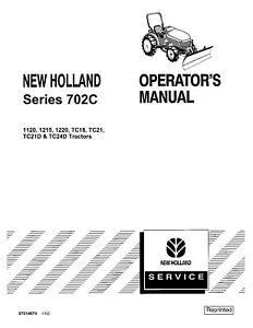 NEW HOLLAND 702c Series Front Blade TRACTOR OPERATORS