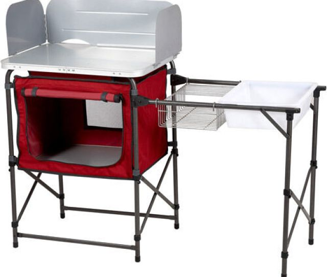 Camp Kitchen And Sink Table Ozark Trail Deluxe Camping Outdoor Cooking Folding Ebay