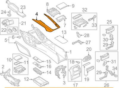 Audi A6 C7 Center Console Cover Trim 4G0864261AC6T3 NEW