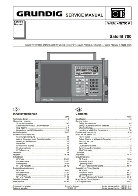 Grundig Satellit 700 Communications Radio SERVICE MANUAL