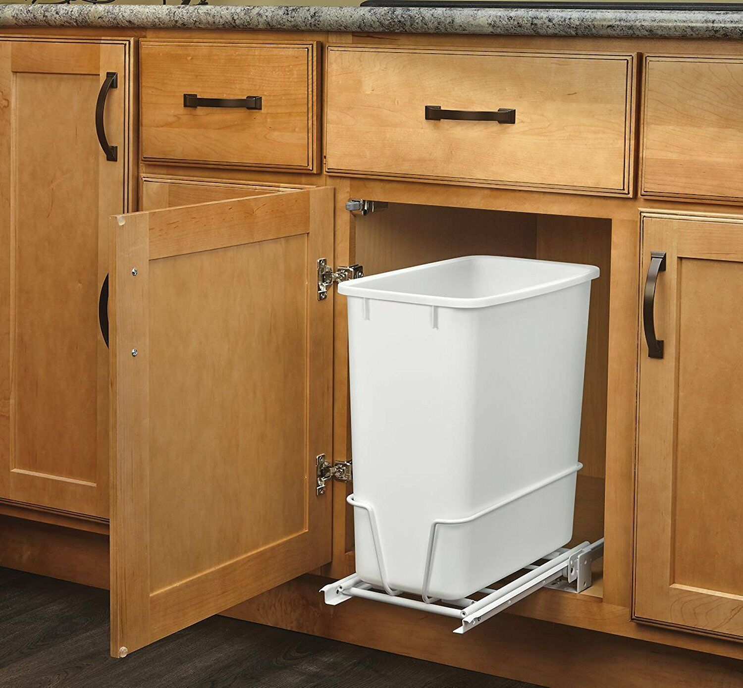 undercounter kitchen trash can runner washable 20 quart white waste bin garbage pull