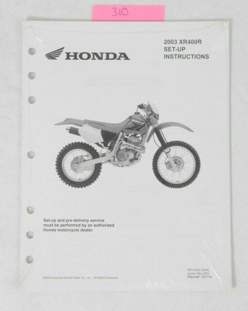 2003 Genuine Honda XR400R Dealer ASSEMBLY SET UP